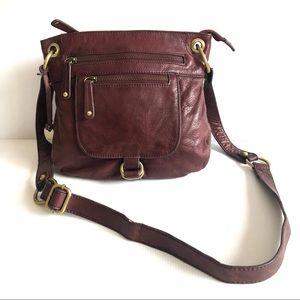 Vintage Leather Plum Crossbody / Shoulder Bag Patina Hardware Burgundy